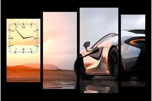Модульная картина с часами Машина