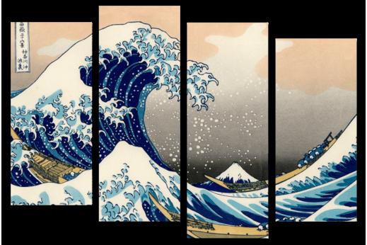 Модульная картина  Большая волна Япония